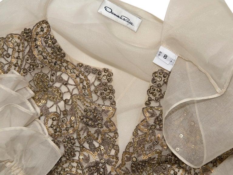 Women's Oscar De La Renta Cream Silk Embellished Blouse