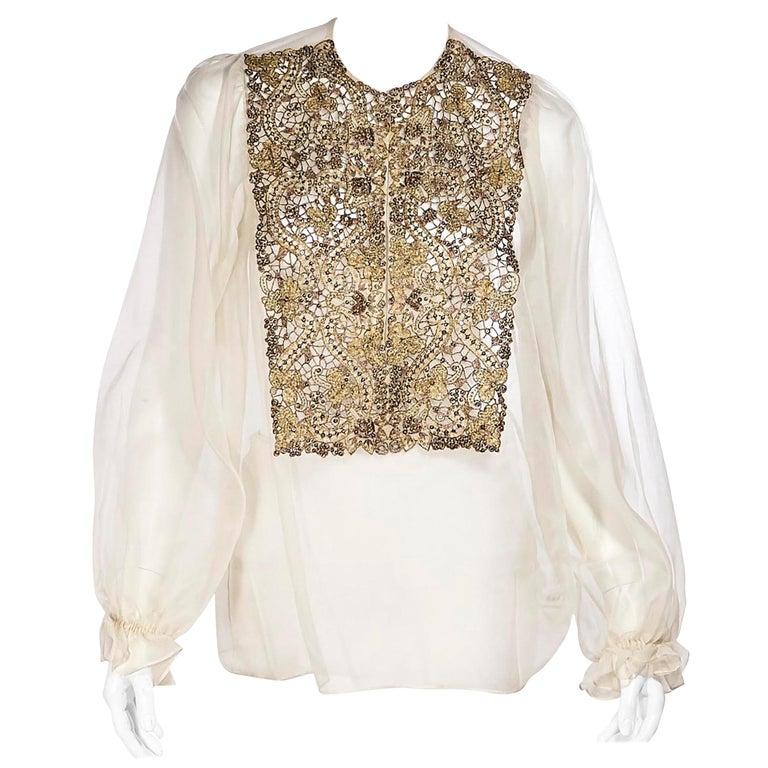 Oscar De La Renta Cream Silk Embellished Blouse