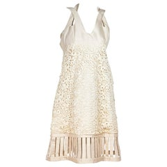 Cream Vintage Valentino Silk Lace-Accented Mini Dress