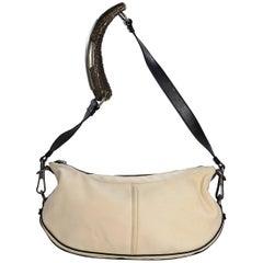 Cream Vintage Yves Saint Laurent Canvas Shoulder Bag