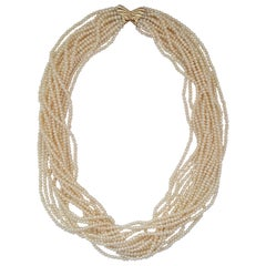 Cream White Grade AA Pearl Necklace Multi-Strand 14kt Butterfly Clasp