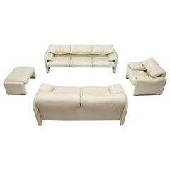 Cream White Living Room Set Maralunga by Vico Magistretti for Cassina 1973