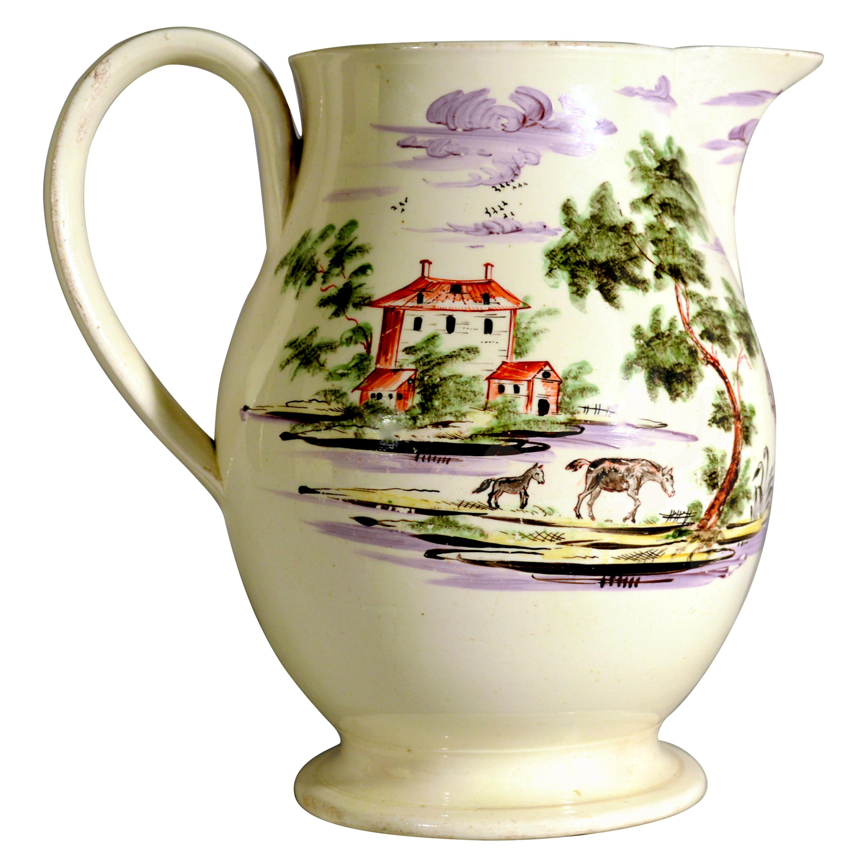 Creamware Large Jug Decorated with Farm Buildings and Farm Animals