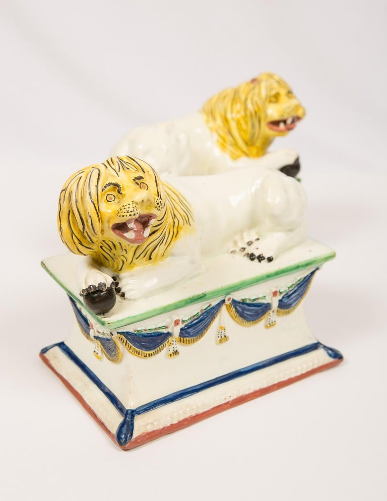 Hand-Painted Antique French Creamware Lions 18th Century For Sale