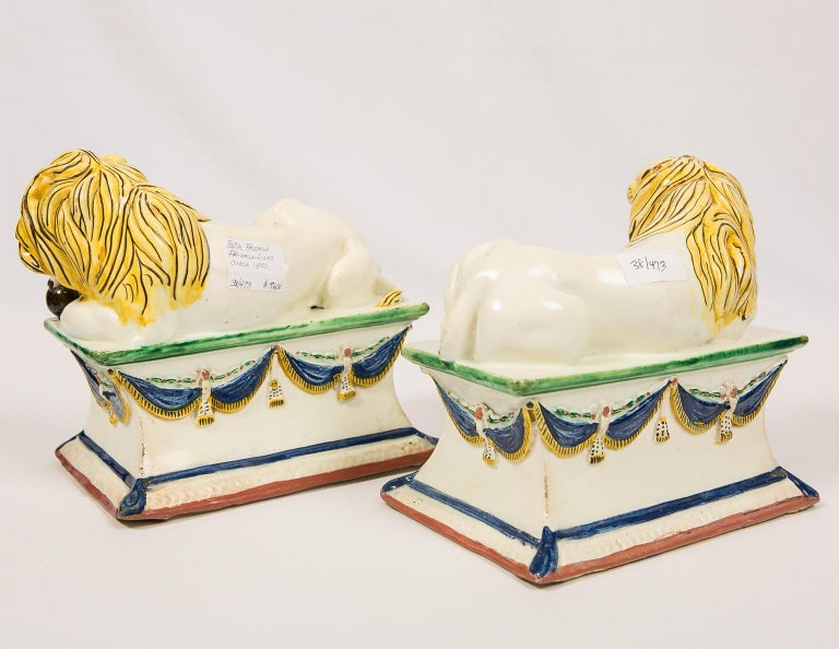 Antique French Creamware Lions 18th Century For Sale 2