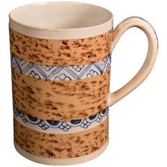 Creamware Mocha Mug with Underglaze Blue Bands, circa 1800-1820
