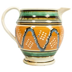 Creamware Mochaware Pitcher Decorated with Cable and Dot Decoration, England