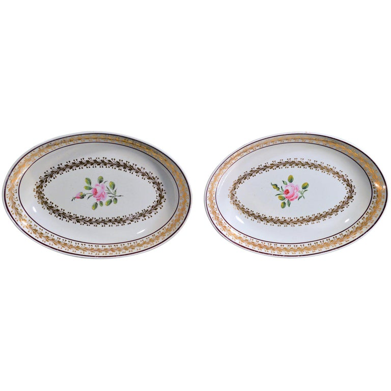Creamware Oval Botanical Dishes, Neale & Co. 18th-Century For Sale