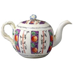 Creamware Pottery Chintz Decorated Teapot Probably Leeds Pottery, 18th Century