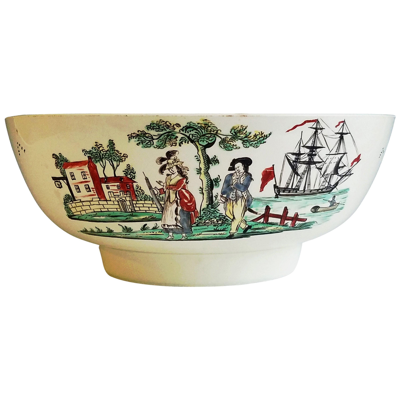 Creamware Pottery Sailor's Farewell Punch Bowl, circa 1800-1820