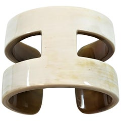"Creamy White ""H"" Style Horn Cuff/Bangle"