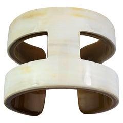 "Creamy White ""H"" Style Horn Cuff/Bangle"