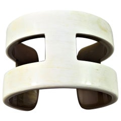 "Creamy White ""H"" Style Horn Cuff or Bangle"