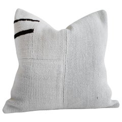 Creamy White Hemp Rug with Stripes Patchwork Style