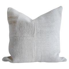 Creamy White Turkish Hemp Rug Pillow with Patchwork Style