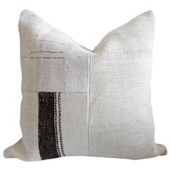 Creamy White Turkish Rug Pillow with Brown Stripes and Patchwork Style