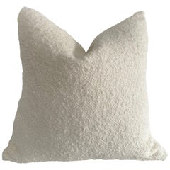 Creamy White Wool and Linen Sheep Boucle Accent Pillow with Down Insert