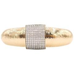 Creased 18 Karat Rose Gold Bangle with Rectangular Diamond Motif