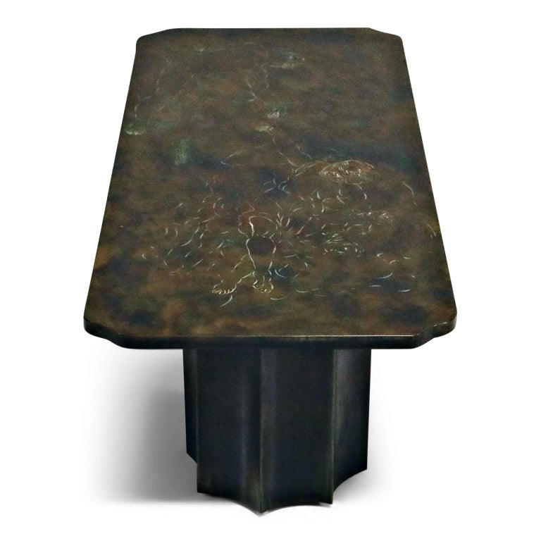 Etched 'Creation of Man' Double Pedestal Coffee Table by Philip & Kelvin LaVerne, 1960s For Sale