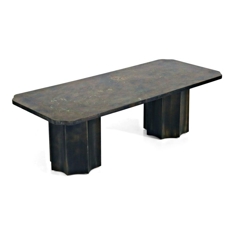 Mid-20th Century 'Creation of Man' Double Pedestal Coffee Table by Philip & Kelvin LaVerne, 1960s For Sale