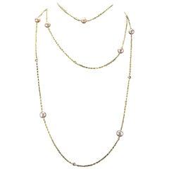 Creation Pink Cultured Pearl Diamond 18 Karat Yellow Gold Long Necklace
