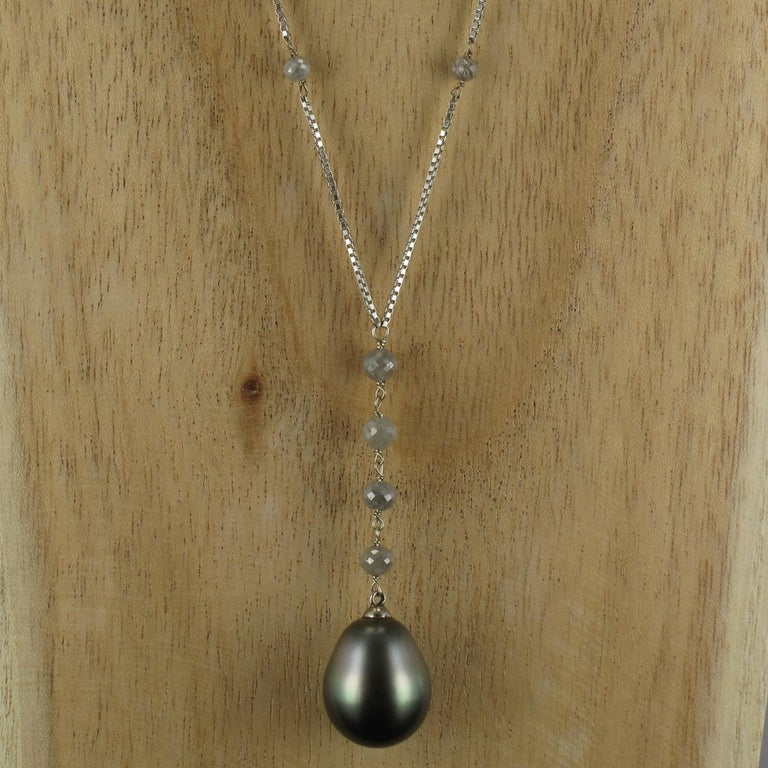 Creation Tahitian Pearls Diamond Pearls 18 Karat White Gold Necklace For Sale 11