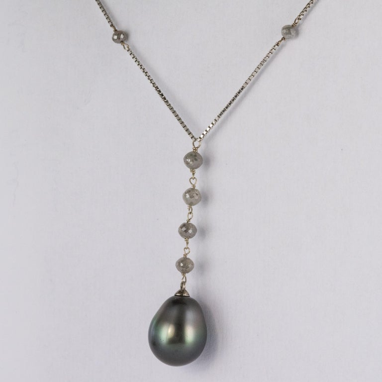 Modern Creation Tahitian Pearls Diamond Pearls 18 Karat White Gold Necklace For Sale