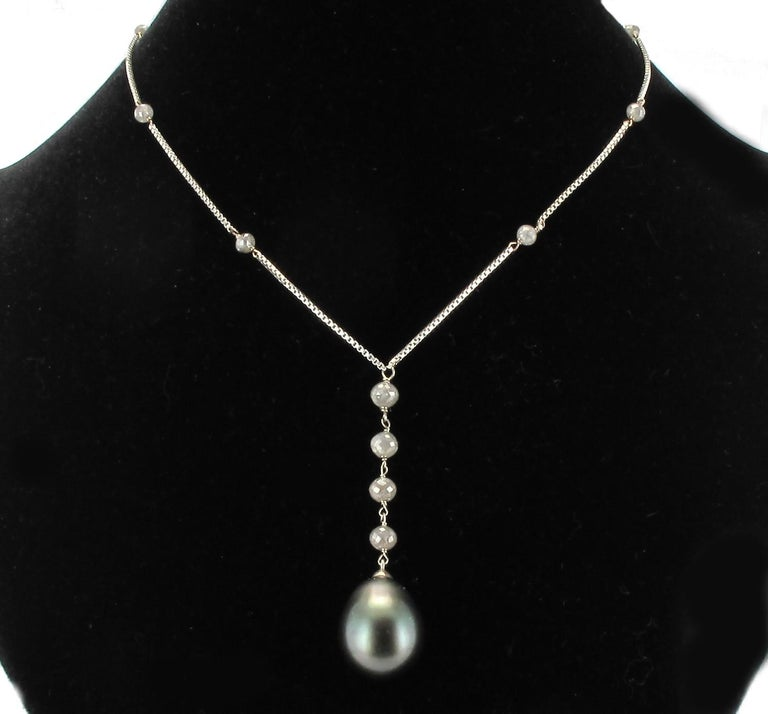 Creation Tahitian Pearls Diamond Pearls 18 Karat White Gold Necklace For Sale 2