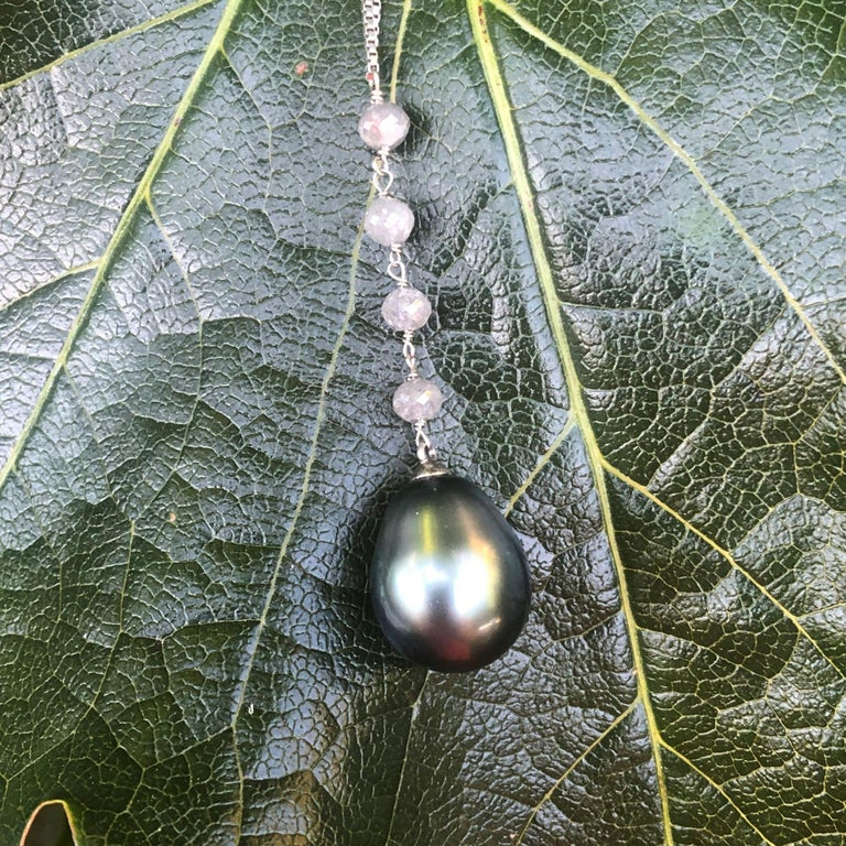 Creation Tahitian Pearls Diamond Pearls 18 Karat White Gold Necklace For Sale 7