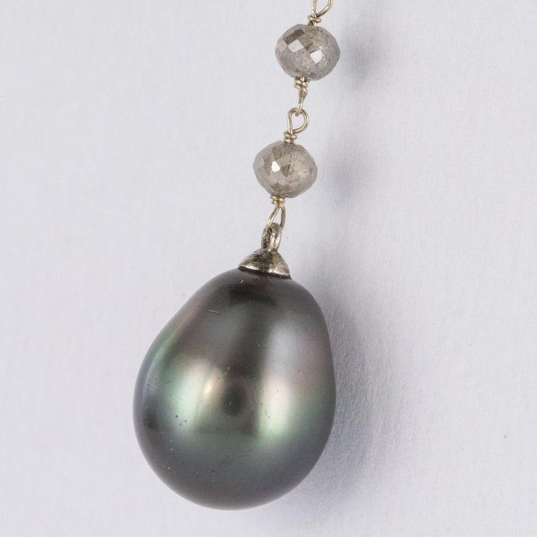 Women's Creation Tahitian Pearls Diamond Pearls 18 Karat White Gold Necklace For Sale