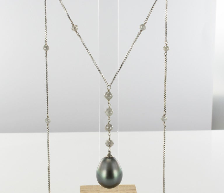 Creation Tahitian Pearls Diamond Pearls 18 Karat White Gold Necklace For Sale 10