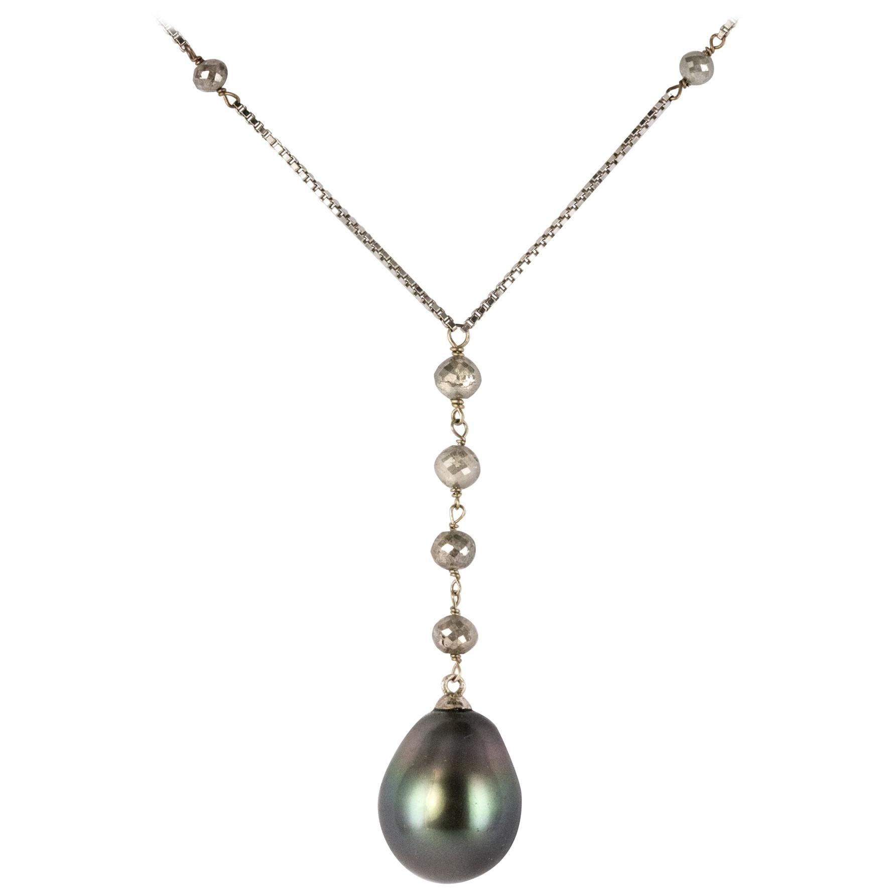 Creation Tahitian Pearls Diamond Pearls 18 Karat White Gold Necklace