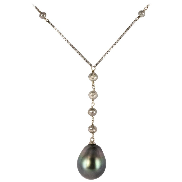 Creation Tahitian Pearls Diamond Pearls 18 Karat White Gold Necklace For Sale