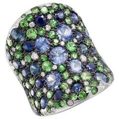 Creative Natkina Blue Sapphire Tsavorite Diamond Designer Ring for Her