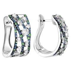 Creative Natkina Blue Sapphire Tsavorite Diamond Lever-Back Earrings for Her