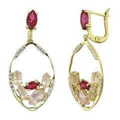 Creative Pink Quartz Topaz Zirconia Yellow Gold Designer Earrings for Her