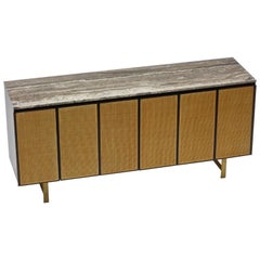Credenza by Paul McCobb with Custom Travertine Top