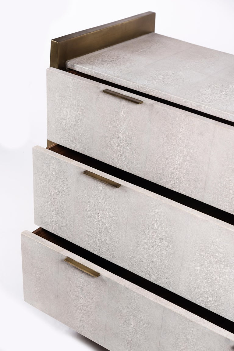 Art Deco Credenza in Parchment and Bronze-Patina Brass by R&Y Augousti For Sale