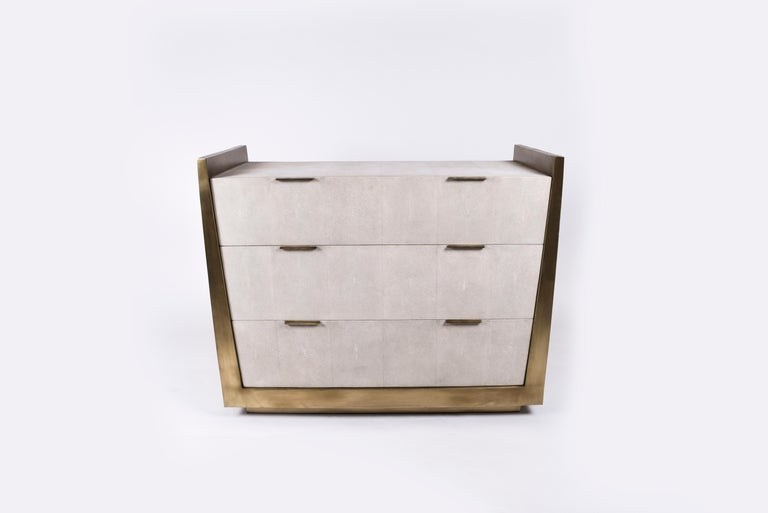 French Credenza in Parchment and Bronze-Patina Brass by R&Y Augousti For Sale