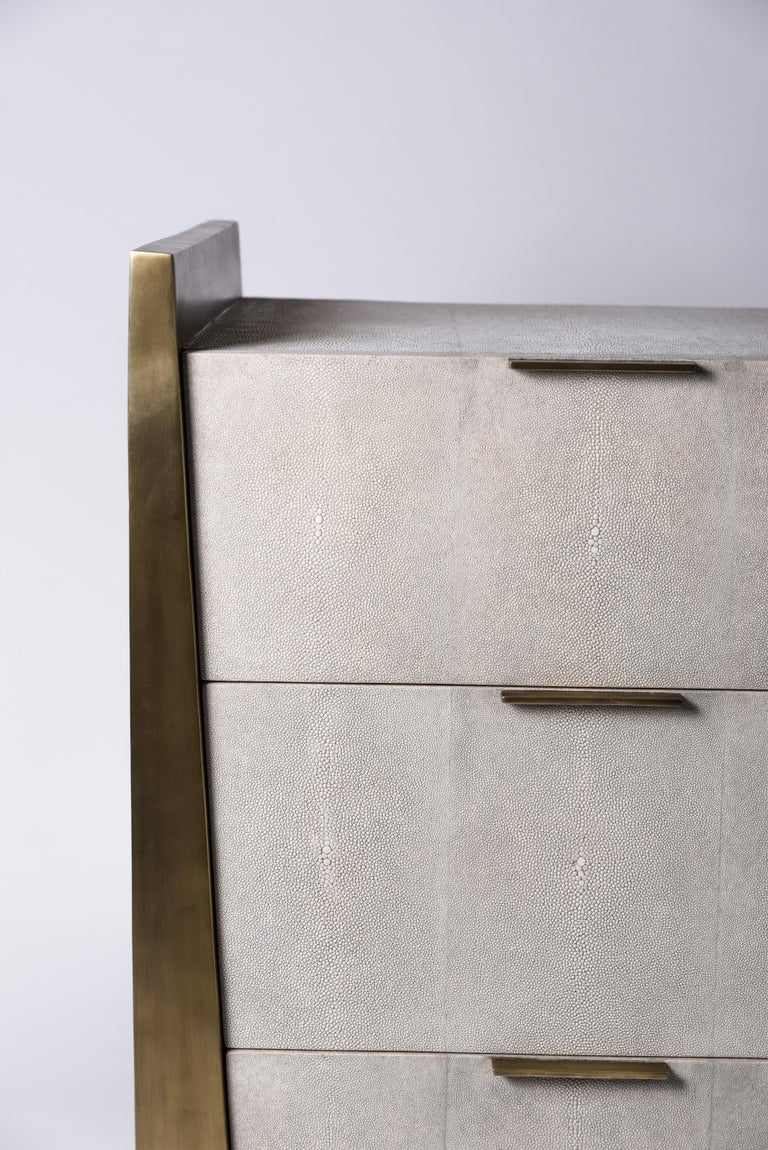 Inlay Credenza in Parchment and Bronze-Patina Brass by R&Y Augousti For Sale