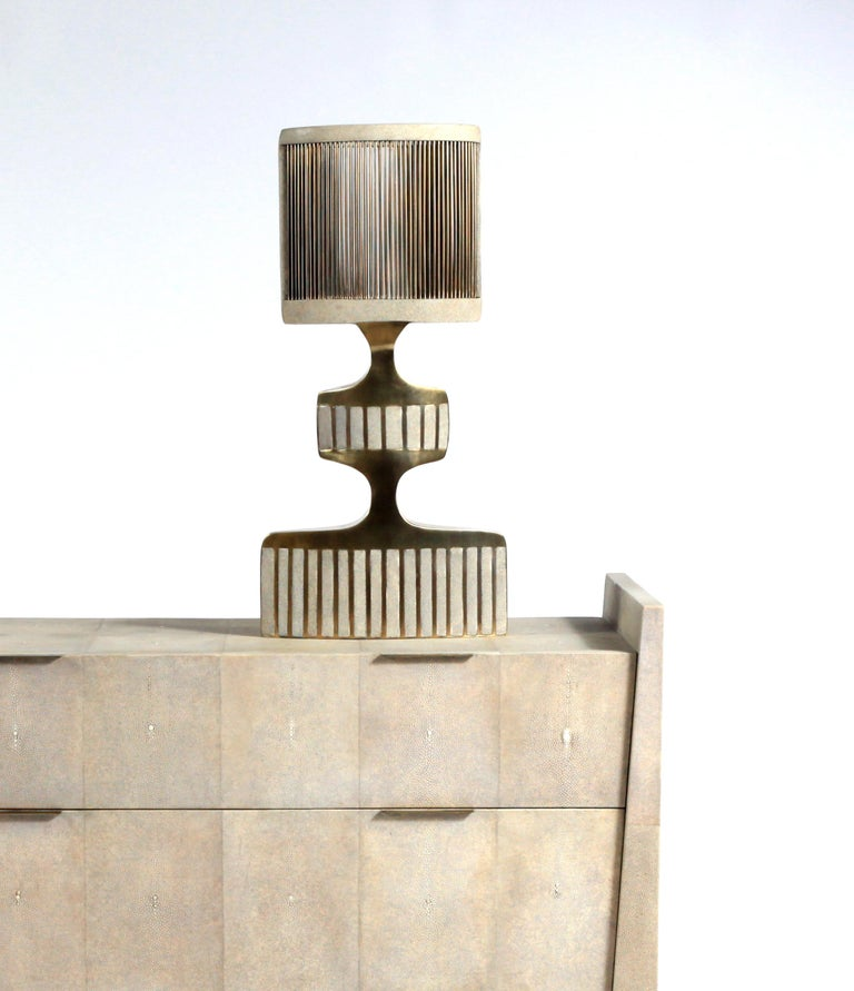 Credenza in Parchment and Bronze-Patina Brass by R&Y Augousti For Sale 1