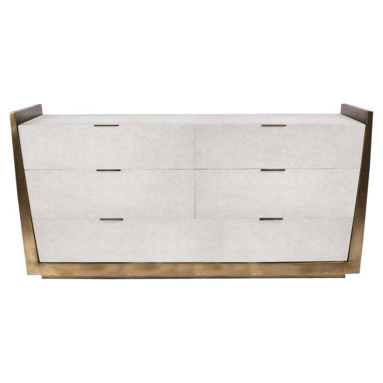 Credenza in Parchment and Bronze-Patina Brass by R&Y Augousti For Sale