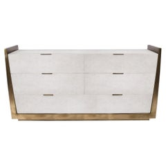 Credenza in Parchment and Bronze-Patina Brass by R&Y Augousti