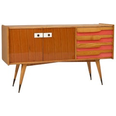 Credenza in Wood, Laminate and Brass Attributed to Gio Ponti, Italy, 1960s