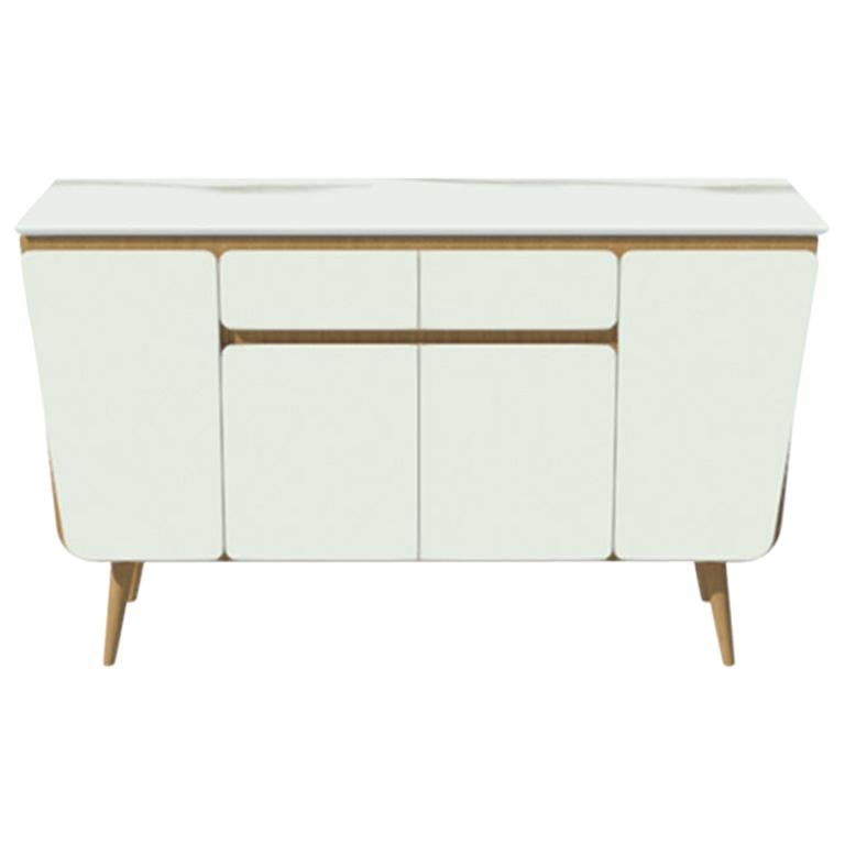 Credenza M02 Contemporary Cabinet Lacquer White Oak Marble Counter Made in Italy For Sale
