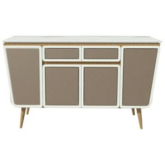 Credenza M04 Contemporary Cabinet Lacquer White Oak Marble Counter Made in Italy
