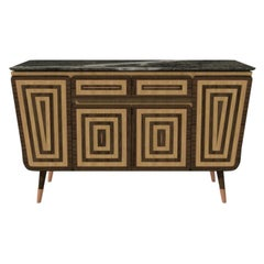 Credenza M05 Contemporary Cabinet Walnut Oak Brass Marble Counter Made in Italy