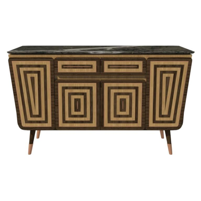 Credenza M05 Contemporary Cabinet Walnut Oak Brass Marble Counter Made in Italy For Sale