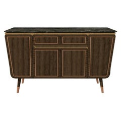 Credenza M06 Contemporary Cabinet Walnut Oak Brass Marble Counter, Made in Italy