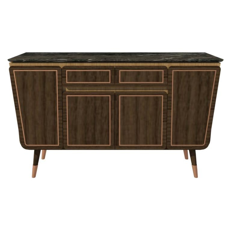 Credenza M06 Contemporary Cabinet Walnut Oak Brass Marble Counter, Made in Italy For Sale